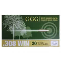Cartouches GGG 308 Win 175gr - La boite de 20