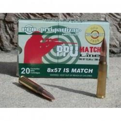 Cartouches PARTIZAN CAL. 8X57 JS 200-GRS FMJ-BT MATCH lot de 500