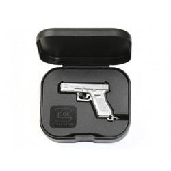 Porte-clé Glock couleur argent dans sa boîte