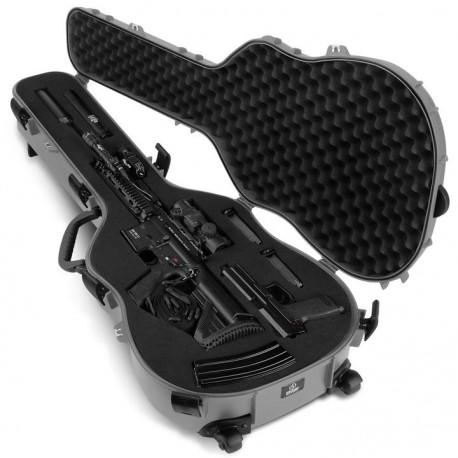 Savior Equipment Discreet Ultimate Guitar Hard Case -Mousse customisable avec poignées et roulettes Grise  45''