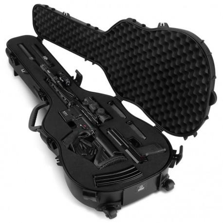 Savior Equipment Discreet Ultimate Guitar Hard Case -Mousse customisable avec poignées et roulettes Noire  45''